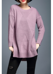Side Slit Ribbed Chunky Sweater