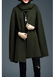 Knitted Open Cape Cardigan with Shawl Collar