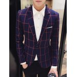 Checked Breast Pocket Lapel Long Sleeve One-Button Blazer For Men for sale