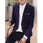 Checked Breast Pocket Lapel Long Sleeve One-Button Blazer For Men deal