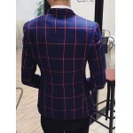 Checked Breast Pocket Lapel Long Sleeve One-Button Blazer For Men photo