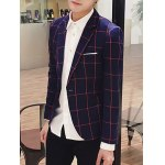 best Checked Breast Pocket Lapel Long Sleeve One-Button Blazer For Men