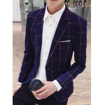 cheap Checked Breast Pocket Lapel Long Sleeve One-Button Blazer For Men