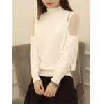 cheap Voile Splicing High Neck Candy Color Sweater