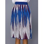 cheap Chic Color Block Geometric Print Elastic Waist Pleated Skirt For Women