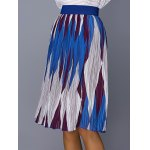 Chic Color Block Geometric Print Elastic Waist Pleated Skirt For Women