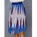 Chic Color Block Geometric Print Elastic Waist Pleated Skirt For Women deal