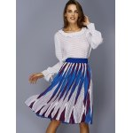 Chic Color Block Geometric Print Elastic Waist Pleated Skirt For Women for sale