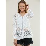 cheap Hollow Out Zipper Design Cardigan