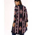 Stylish Collarless Geometric Cardigan For Women for sale