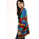 Colorized Striped Loose Cardigan For Women deal