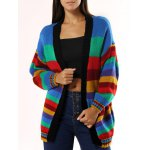 Colorized Striped Loose Cardigan For Women