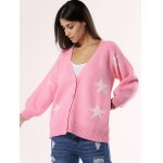 cheap Sweet Star Ribbed Hem Cardigan For Women