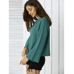 Simple Flare Sleeve Ribbed Sweater For Women deal