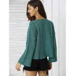 Simple Flare Sleeve Ribbed Sweater For Women for sale