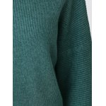 best Simple Flare Sleeve Ribbed Sweater For Women