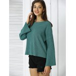 cheap Simple Flare Sleeve Ribbed Sweater For Women