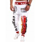 Loose Fit Stylish Lace-Up Splash-Ink Letters Print Beam Feet Polyester Sweatpants For Men