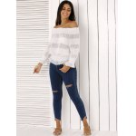 Fashion Off The Shoulder Peplum Top and Distressed Skinny Jeans deal