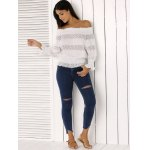 cheap Fashion Off The Shoulder Peplum Top and Distressed Skinny Jeans