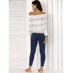 best Fashion Off The Shoulder Peplum Top and Distressed Skinny Jeans