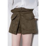 cheap Belted High Waisted Suede Shorts