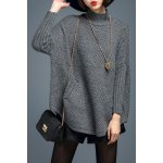 Turtleneck Batwing Sleeve Pullover Sweater