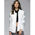 cheap Vintage Embroidered Stand Collar Bomber Jacket