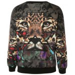 cheap Stylish 3D Tiger Print Pullover Sweatshirt For Women