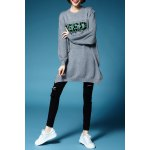 Letter Jacquard Batwing Sleeve Pullover Sweater deal