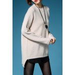 cheap High Low Long Sleeve Pullover Sweater