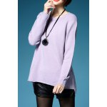 Back Slit Long Sleeve Pullover Sweater deal