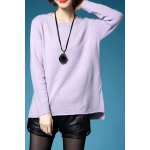 Back Slit Long Sleeve Pullover Sweater