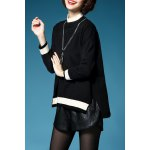 cheap Color Block Batwing Sleeve Pullover Sweater