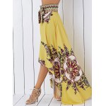 cheap Retro Tribal Print High Low Skirt For Women