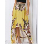 Retro Tribal Print High Low Skirt For Women