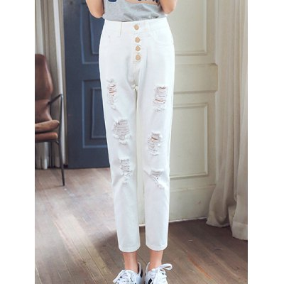Pure Color Ripped Denim Pants For Women