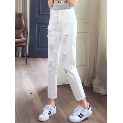 Stylish Pure Color Ripped Denim Pants For Women