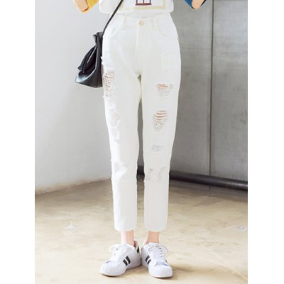 Broken Hole Solid Color Pants For Women