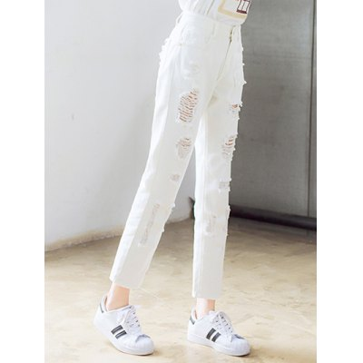 Chic Broken Hole Solid Color Pants For Women