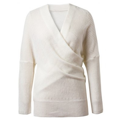 V-Neck Pure Color Knitted Sweater