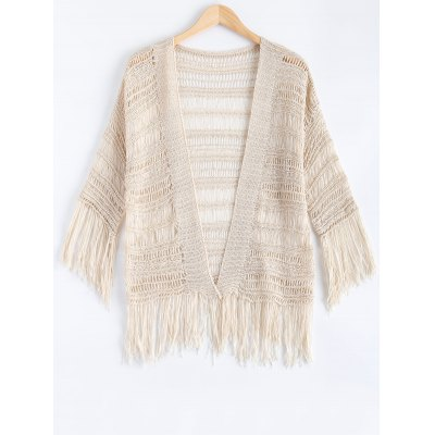 Ethnic Fringe Crochet Translucent Short Cardigan