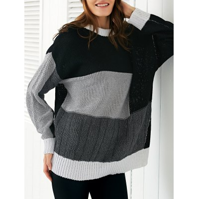 Round Neck Long Sleeve Color Block Loose Sweater