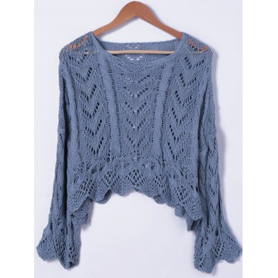 Crochet Bell Sleeve Hollow Out Sweater