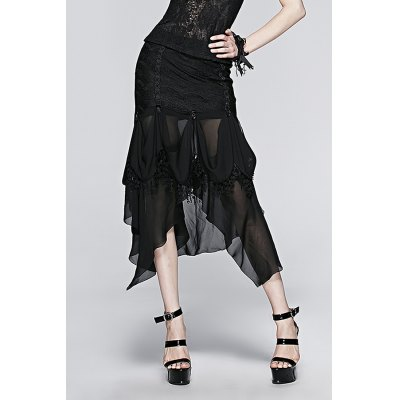 Lace Asymmetric Hem Skirt