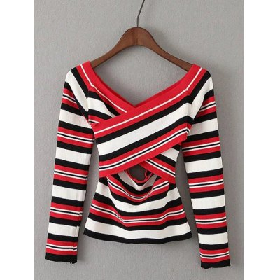 Striped Off-The-Shoulder Hollow Out Knitwear
