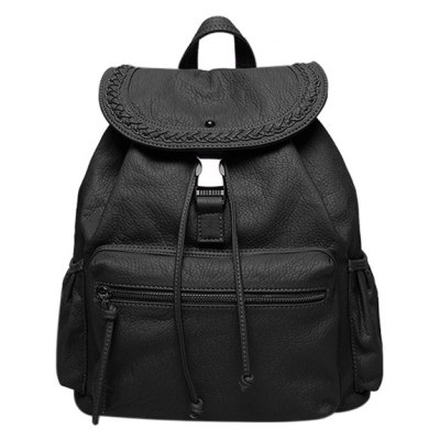 Stylish PU Leather and Drawstring Design Backpack For Women