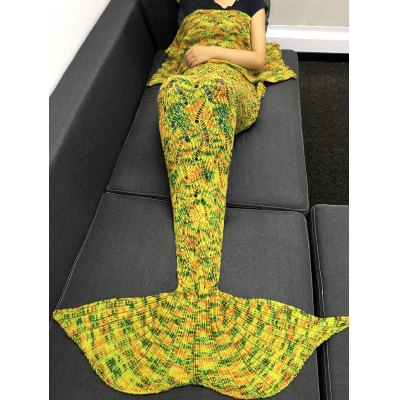 Stylish Yarn Knitted Hollow Out Design Warmth Mermaid Tail Blanket