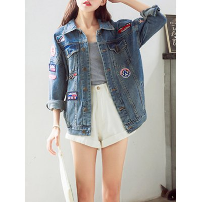 Trendy Applique Loose Fitting Jacket For Women