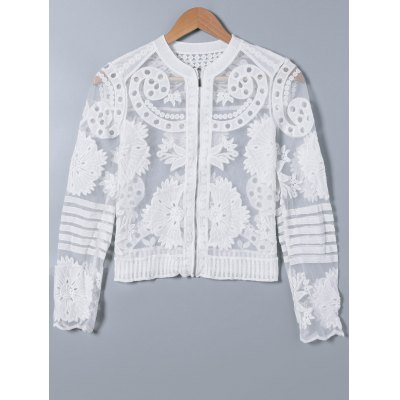 Lace Splicing See-Through Embroidery Coat